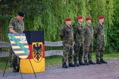Brig. Gen. Markus Laubenthal, chief of staff, U.S. Army Europe, in a Military ceremony,Leipzig Germany 8 July 2015