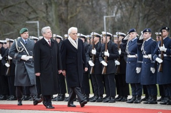 Bundespraesident Gauck with Italian President Sergio Mattarella. Berlin March 2015