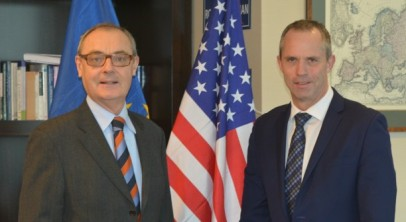 EUAmbassador to U.S David O'Sullivan with Europol Deputy Director Will van Gemert 2015