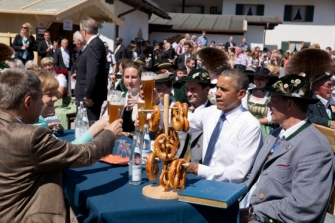 President Obama with Chancellor Merkel in Krun the Bavarian Alps  for the G-7 Summit June 7 2015
