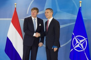 His Majesty King Willem-Alexander of the Netherlands is welcomed by NATO Secretary General Jens Stoltenberg
