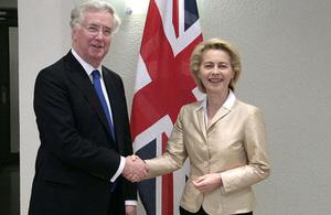 Defence Secretary Michael Fallon and German Defence Minister Dr Ursula Von der Leyen UK GOV