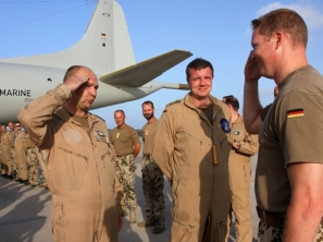 Commander Hansen congratulates the BW Pilots for their reaching 8000 flight in EUNAV April 19,2016