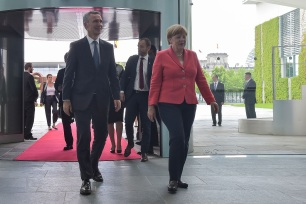 NATO Secretary General Jens Stoltenberg meets with German Chancellor Angela Merkel