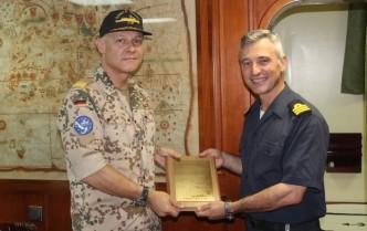 the Force Commander, Rear Admiral Kaack, meets ESPS Santa Maria's Commanding Officer Jun 2016